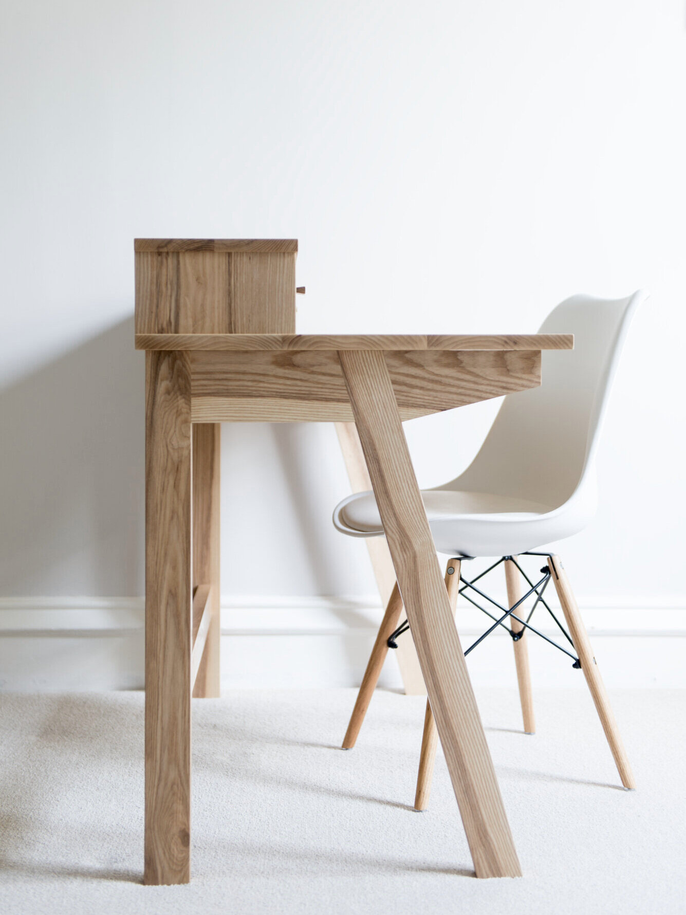Ash Desk With Chair side view