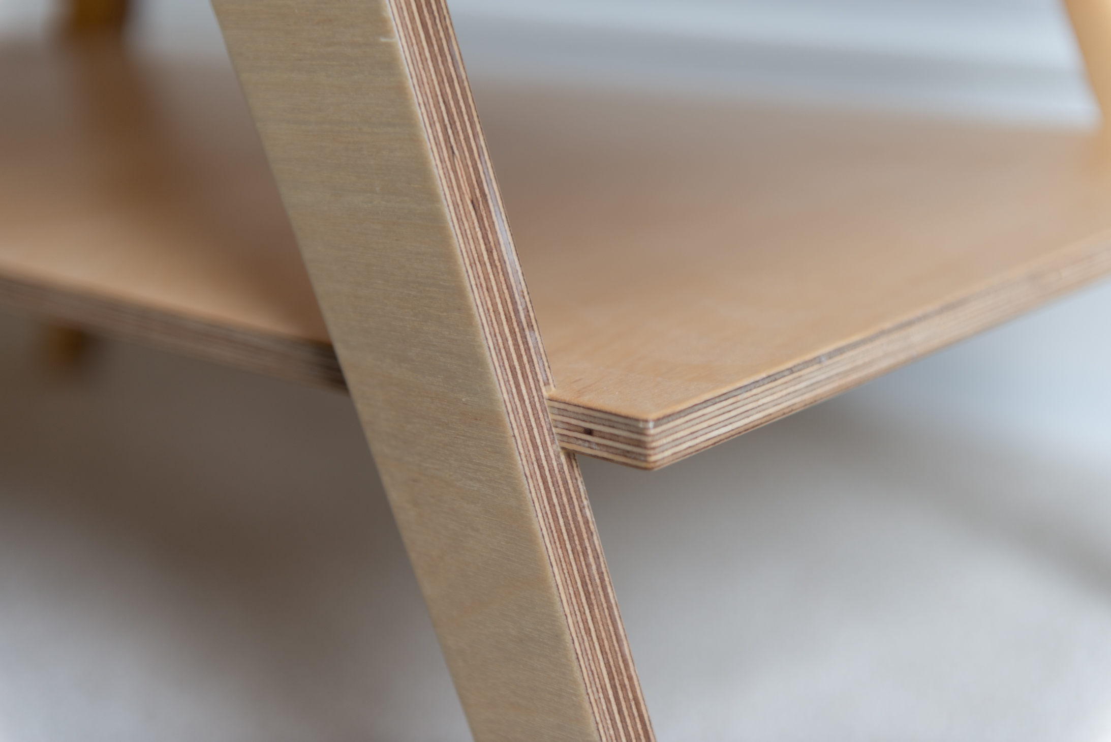 plywood coffee table shelf detail